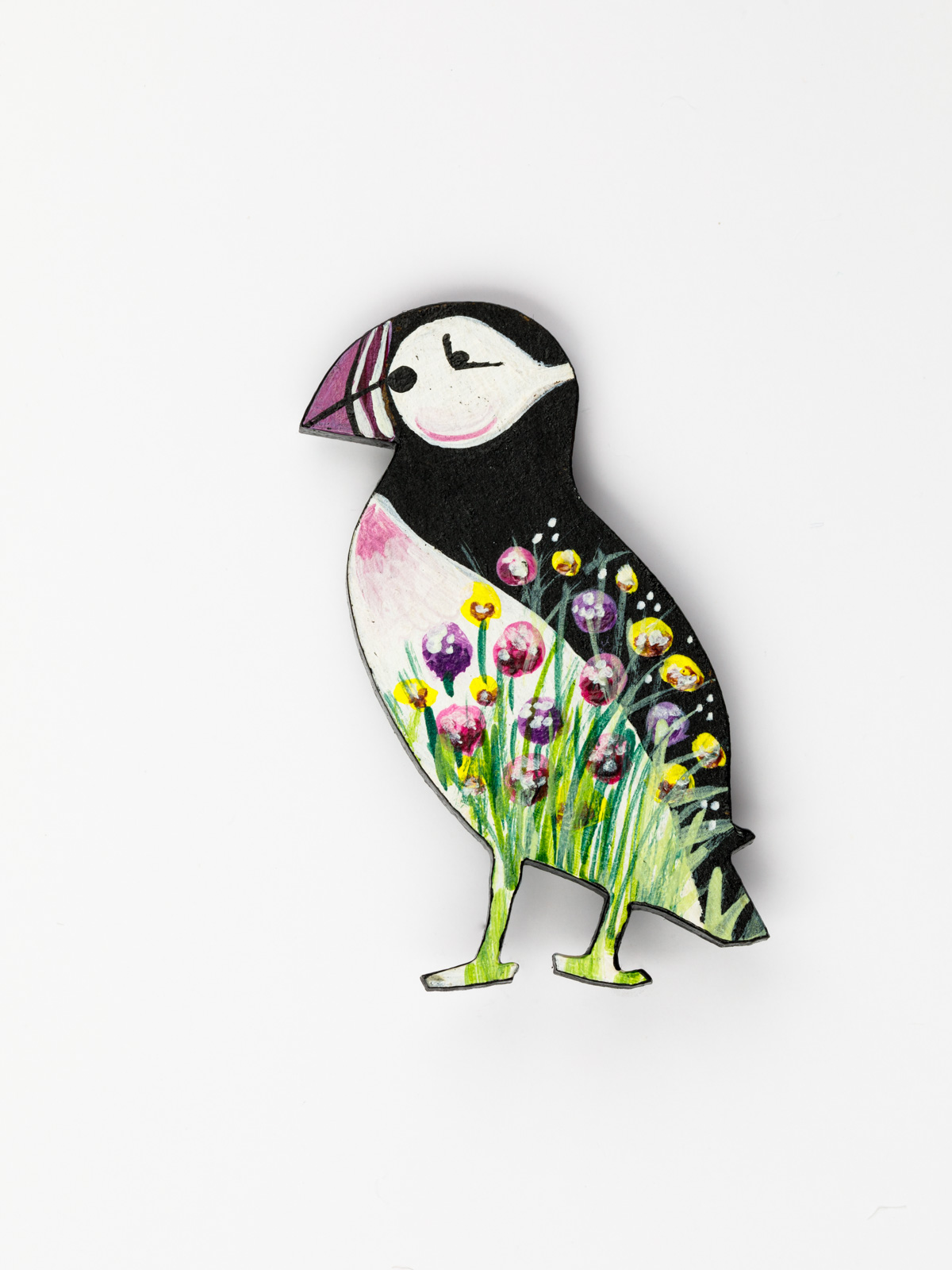 Puffin Brooch – Pink, Yellow & Purple Flowers