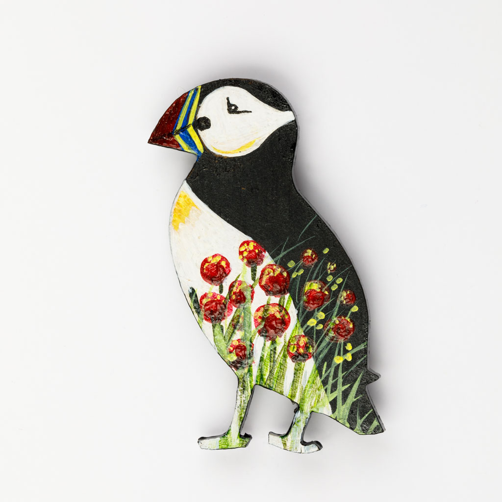 Puffin Brooch – Red Flowers